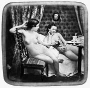 Teacup Photo Acrylic Prints - NUDES HAVING TEA, c1850 Acrylic Print by Granger