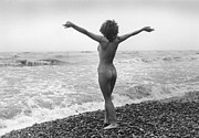 Mid Adult Framed Prints - Nudist Beach Framed Print by Evening Standard