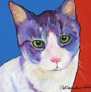 Felines Painting Prints - Nugget Print by Pat Saunders-White