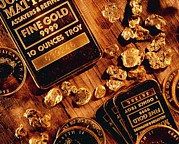 Gold Bars Posters - Nuggets, Bars And Coins Made Of Gold Poster by David Nunuk