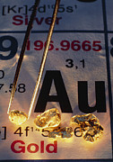 Element Photos - Nuggets Of Gold On Periodic Table by David Nunuk