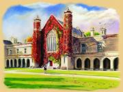 College Pastels Prints - Nuig Print by Vanda Luddy