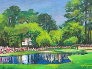 Sport Illustrations Mixed Media Framed Prints - Number 16 at AUGUSTA MASTERS Framed Print by Dan Haraga