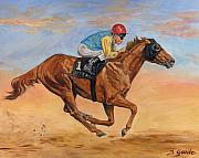 Jockey Paintings - Number one by Jana Goode