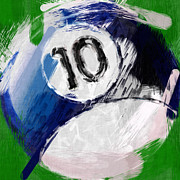 Billiard Digital Art Acrylic Prints - Number Ten Billiards Ball Abstract Acrylic Print by David G Paul