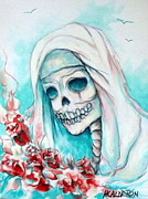 Cemetary Paintings - Nun with Flowers by Heather Calderon