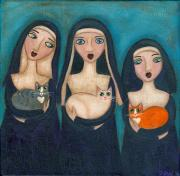 Nuns Paintings - Nuns and Their Cats by Ryan Conners