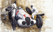 Mercedes Paintings - Nurburgring Pit Stop 1937 Hermann Lang MB W125 by Yuriy  Shevchuk