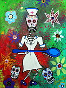 Skull Paintings - Nurse Day Of The Dead by Pristine Cartera Turkus