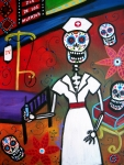 Frida Kahlo Flowers. Paintings - Nurse Dia De Los Muertos by Pristine Cartera Turkus