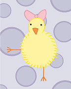 Chick Prints - Nursery Art Baby Bird Print by Christy Beckwith