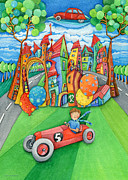 Art For The Bedroom Framed Prints - Nursery Artwork Children Car Framed Print by Sonja Mengkowski