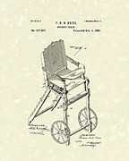 Nursery Drawings Prints - Nursery Chair 1885 Patent Art Print by Prior Art Design