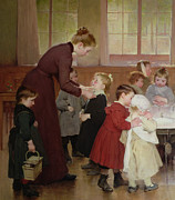 Primary School Painting Framed Prints - Nursery school Framed Print by Hneri Jules Jean Geoffroy