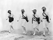 Nurses Framed Prints - Nurses In Gas Masks Walk Framed Print by Everett