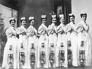 Kerosene Lamp Photos - Nurses On Night Rounds, 1899 by Science Source