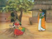 Village Scene Paintings - Nurturing Nature by Vidyut Singhal