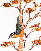 Ladywholovesbirds Tapestries - Textiles Prints - Nuthatch FOUR Print by Alexandra  Sanders