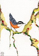 Beardedladygreetings Tapestries - Textiles Prints - Nuthatch THREE Print by Alexandra  Sanders