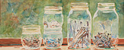 Mason Jars Prints - Nuts and Bolts Impression Print by Jenny Armitage