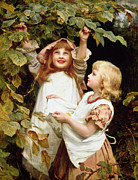 Nuts Paintings - Nutting by Frederick Morgan