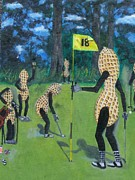 Peanuts Paintings - Nutz Bout Golf 2 by Charles Vaughn