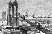 1877 Posters - Ny: Brooklyn Bridge, 1877 Poster by Granger