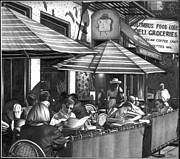 Cities Drawings Prints - NY Cafe Print by Jerry Winick