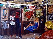 Graffiti Jewelry Metal Prints - NY City subway in the 70 Metal Print by Leonardo Ruggieri