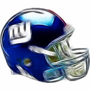 Helmet Posters - NY Giants Helmet - fantasy art Poster by Paul Ward