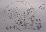 Giants Drawings - NY Giants Helmet by Jessica Cruz