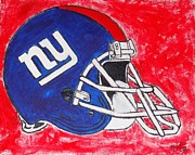Ny Ny Drawings Posters - NY Giants Poster by Jessica Cruz