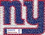 Super Bowl Posters - NY Giants Super Bowl Mosaic Poster by Paul Van Scott