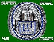 Championship Ring Posters - NY Giants Super Bowl Ring Poster by Paul Van Scott