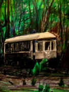 Color Pencil And Pencil Drawings - Ny  Old Trolley  by Allen n Lehman