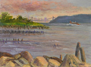 New York City Skyline Painting Originals - NY Skyline and GWB from Hastings On Hudson by Phyllis Tarlow
