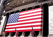 New York Stock Exchange Prints - NY Stock Exchange-Flag Pillars Print by Linda  Parker