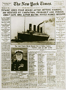 Titanic Posters - Ny Times, Sinking Of The Titanic, 1912 Poster by Photo Researchers