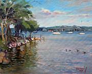 County Paintings - Nyack Park by Hudson River by Ylli Haruni