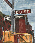 Grey Clouds Painting Posters - NYC 8th Street Poster by Debbie DeWitt