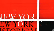 E Black Framed Prints - NYC Abstract in Red and Black Framed Print by Anahi DeCanio
