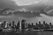 Lightning Storms Prints - NYC All Charged Up BW Print by Susan Candelario