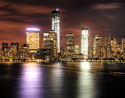 Night Scene Prints - NYC and the Ferry Boat Light Print by Vicki Jauron