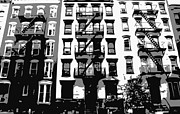 Nyc Fire Escapes Framed Prints - NYC Apartment BW3 Framed Print by Scott Kelley