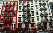 Nyc Fire Escapes Framed Prints - NYC Apartment Color 6 Framed Print by Scott Kelley