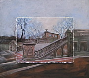 Central Park Mixed Media Prints - NYC Bethesda Stairs layered Print by Anita Burgermeister
