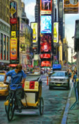 Times Square Nyc Digital Art Prints - NYC Bike Taxi Print by Jeff Breiman