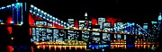 New York City Skyline Painting Framed Prints - NYC black light Framed Print by Thomas Kolendra