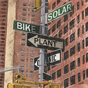 Yellow Green Posters - NYC Broadway 2 Poster by Debbie DeWitt