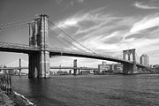 White Digital Art Posters - NYC Brooklyn Bridge Poster by Mike McGlothlen